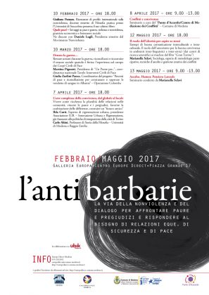 Modena: Nonviolenza o Barbarie – ciclo di incontri da febbraio a maggio 2017 – seconda edizione