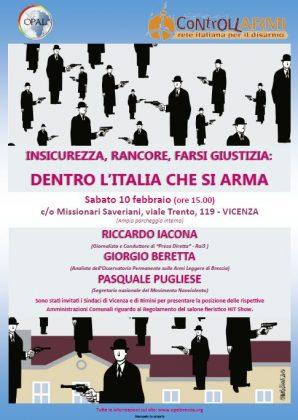 """""""Insicurezza, rancore, farsi giustizia: dentro l'Italia che si arma."""" A Vicenza, un incontro quanto mai opportuno"""