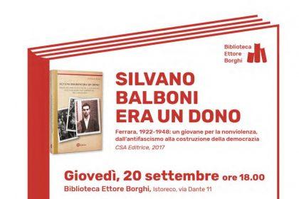 Silvano Balboni era un dono. A Reggio Emilia presentazione del libro di Daniele Lugli